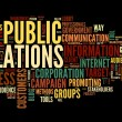 Public relations concept in word tag cloud on black background - Stok fotoğraf