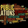 Public relations concept in word tag cloud on black background — Stock Photo