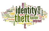 Identity theft concept in word tag cloud isolated on white background — Stock Photo