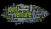 Concetto di joint-venture in etichetta nube su sfondo nero — Foto Stock