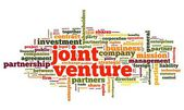 Joint venture concept in de wolk van de markering op witte achtergrond — Stockfoto