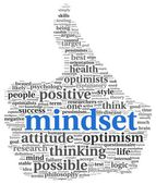 Mindset concept in word tag cloud of thumb up shape — Stock Photo