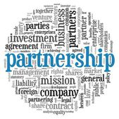 Partnership and business concept in tag cloud on white — Stock Photo