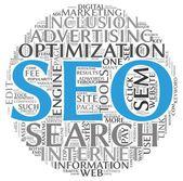 Concepto de seo optimización del motor de búsqueda en la nube de etiquetas de palabra sobre fondo blanco — Foto de Stock
