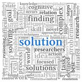 Solution concept in word tag cloud on white background — Stock Photo