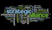 Strategic alliance concept in tag cloud on black — Stockfoto