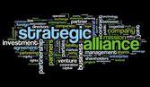 Strategische alliantie concept in de wolk van de markering op zwart — Stockfoto