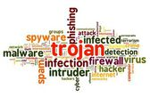 Trojan concept in word tag cloud on white background — Stock Photo