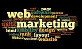 Web marketing concept in word cloud on black background — Stock Photo