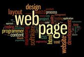 Web page concept in word tag cloud on black background — Stock Photo