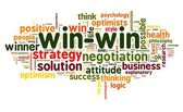Win-win negotiation solution concept in word tag cloud on white background — Stock Photo