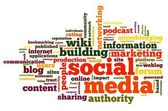 Social media concept in word tag cloud on white background — Stock Photo