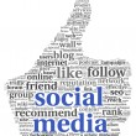 Social media conept in thumb up symbol — Stock Photo