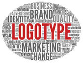 Logotype concept in tag cloud — Stock Photo