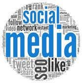 Social media concept in word tag cloud on white — Stock Photo
