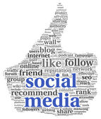 социальные медиа conept в большой палец вверх символ — Стоковое фото