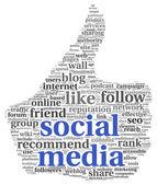 Conept media sociali in pollice su simbolo — Foto Stock