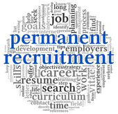 Permanent recruitment concept in word tag cloud — Stock Photo