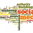 Social media concept in tag cloud - Stock Photo