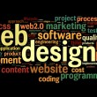 Web design concept in tag cloud on black — Stock Photo #14856417