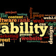 Stock Photo: Web usability concept in tag cloud on black