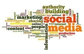Social media concept in tag cloud — Stock Photo