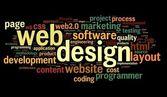 Web designkoncept i taggmoln på svart — Stockfoto