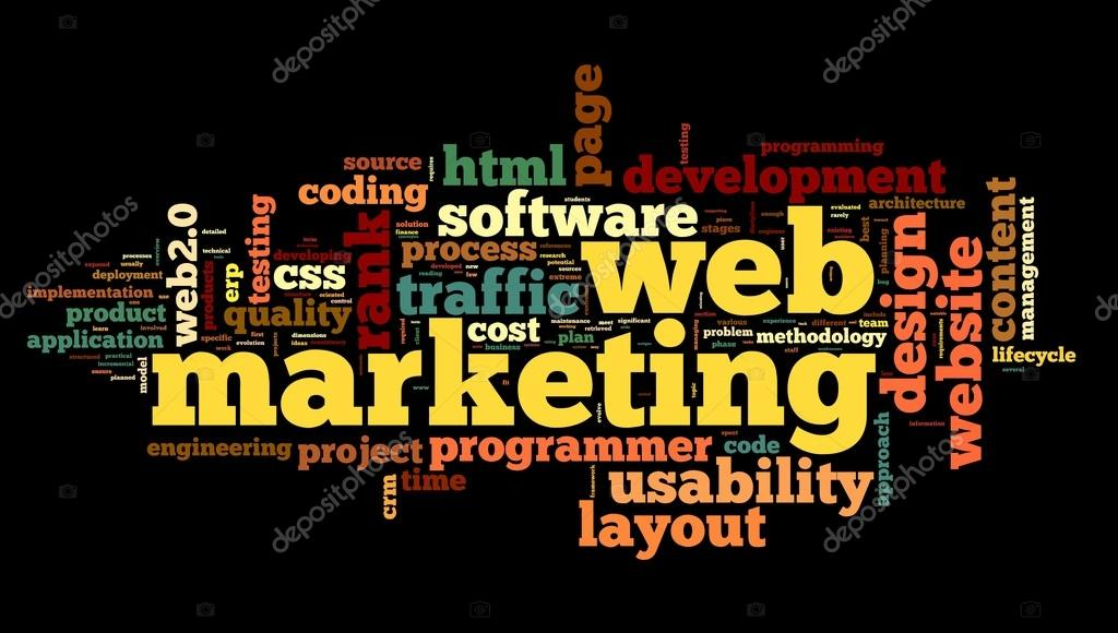 Web marketing concept in word cloud on black background  — Stock Photo #14856391