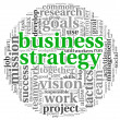 Business strategy concept in word tag cloud — Foto de Stock