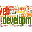 Web development concept in word tag cloud - Stock Photo