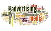 Advertising word in tag cloud — Stock Photo