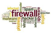 Firewall concept in tag cloud — 图库照片