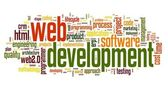 Web development concept in word tag cloud — Stock fotografie