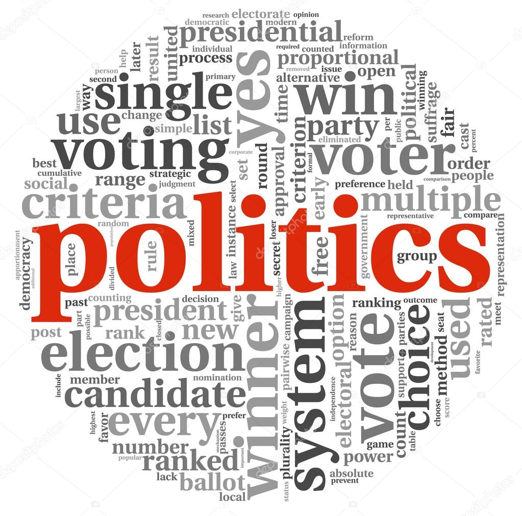 Politics and election concept in word tag cloud on white background — Stock Photo #16288193