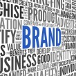 Brand related words in word tag cloud — Stockfoto #17130579