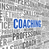 Coaching concept in sphere tag cloud — Stock Photo