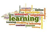 Learning concept in word cloud — Stock Photo