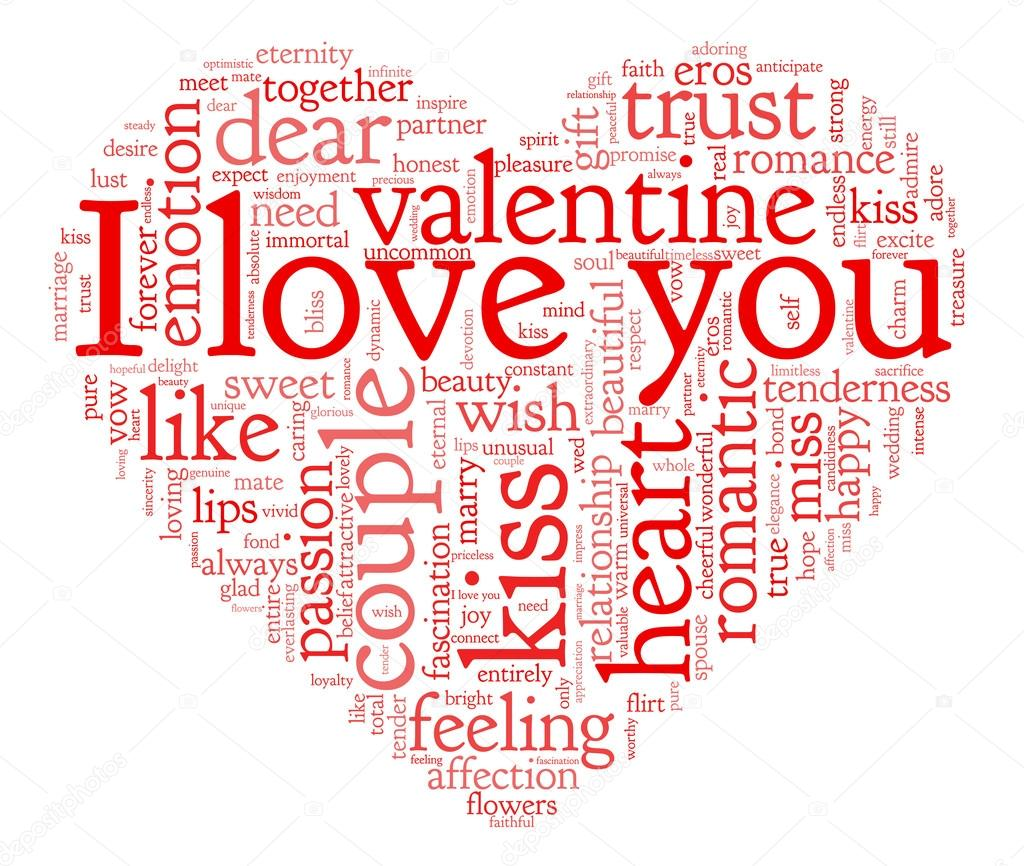 I love you and valentine concept in word tag cloud on white background  Stock Photo #19407931