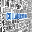 Collaboration concept in word tag cloud — 图库照片