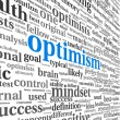 Foto Stock: Optimism concept in word tag cloud isolated