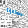 Optimism concept in word tag cloud isolated — Stock fotografie