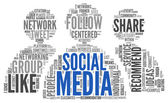 Social media conept in word tag cloud — Stockfoto