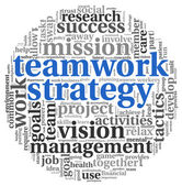 Teamword strategy concept in word tag cloud — Stock Photo
