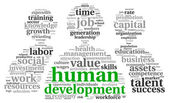 Human development concept in tag cloud — Stock Photo