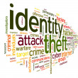 Stock Photo: Identity theft in word tag cloud