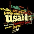 Usability concept in tag cloud — 图库照片