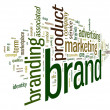 Brand related words in tag cloud — 图库照片