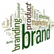 Brand related words in tag cloud — Stock fotografie