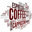 Coffee concept in word tag cloud - Stock Photo