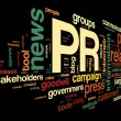 Public relations concept in tag cloud - Stock Photo